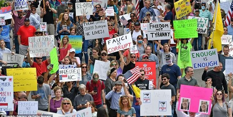تصاویر ، ادامه تظاهرات های هزاران نفری آمریکایی ها برای سرانجام دادن به قرنطینه