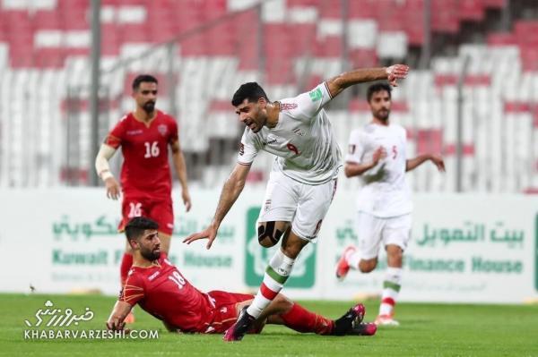 لحظه به لحظه با اشتباه عجیب داور علیه ایران، مدافع بحرین اینجا باید اخراج می شد
