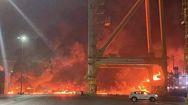 دلایل انفجار و آتش سوزی مهیب در بندر جبل علی دبی از زبان رئیس پلیس